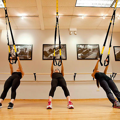 Body Weight Suspension Trainer Training Straps with Door Anchor Home Gym Kit