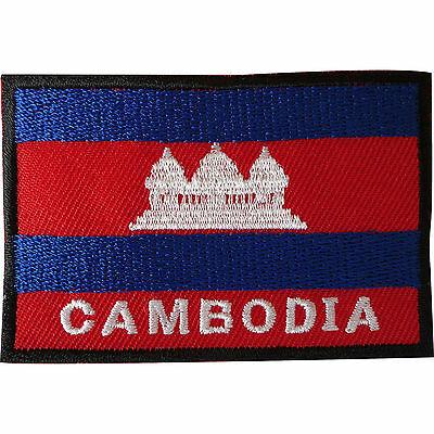 Cambodia Flag Patch Iron On / Sew On Clothes Jacket Embroidered Cambodian Badge