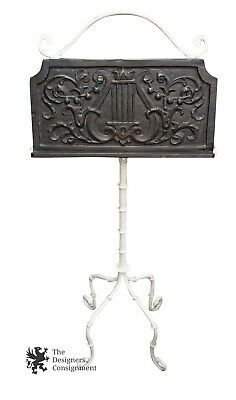 Antique Wrought Iron White Sheet Music Stand Conductors Adjustsable Book Holder