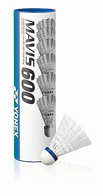 NEW Yonex Mavis 600 Badminton Shuttlecocks White Medium Speed Tube of 6 Shuttles