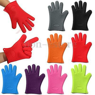 1pcs Kitchen Heat Resistant Silicone Glove Oven Pot Holder Baking BBQ Cook Mitts