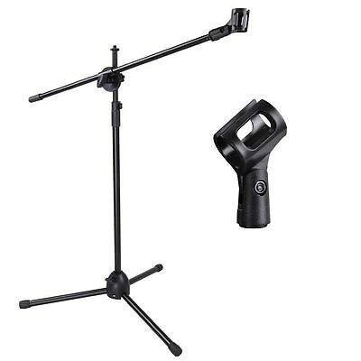 Telescoping Microphone Stand Mic Boom Stage Studio Holder Clip Tripod Instrument
