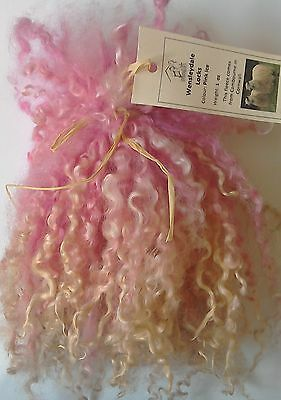 Wensleydale Locks in Pink Ice for Doll making and Spinning 1 oz