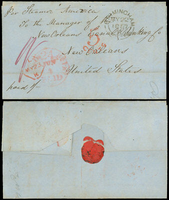 """1857 ENGLAND Stampless, """"Per Steamer America"""", """"5-CENTS"""" Boston Br. PKT HS -N.O."""