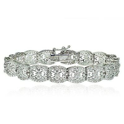 0.25ct Natural Diamond Filigree Bracelet in Gold, Rose or Silver Plated Brass