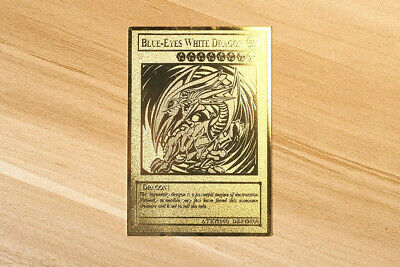 English Version Yugioh Blue Eyes White Dragon Golden Metal Card Collection Card