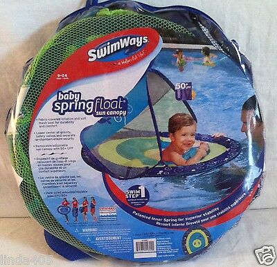 Swimways Swim Step 1 Baby Spring Float Sun Canopy Ages 9-24 Mos Blue Mesh Whale