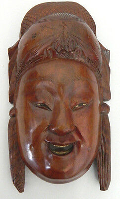 Decorative Wooden Carved Chinese Mask Wall Hanging Oriental Asian Mans Face #2