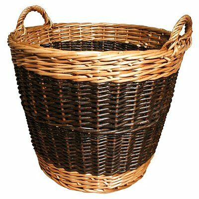 MANOR FIRESIDE FIRE WOOD LOG TWO TONE CARRY WICKER STORAGE BASKET 40cm - small