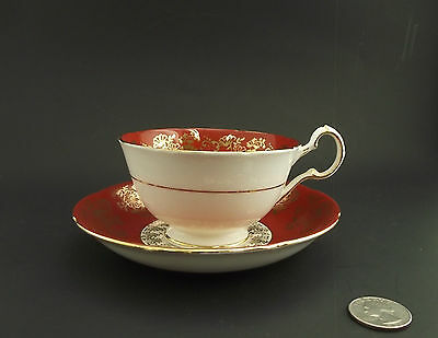 Grafton White & Maroon Antique Cabinet Tea Cup And Saucer