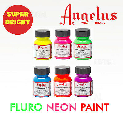 Fluro Neon Paint Angelus  - Super Bright Colors For Leather Synthetic & crafts