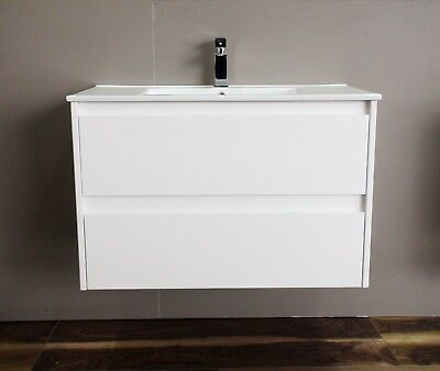 Melbourne 750Mm Wall Hung Vanity With Ceramic Top 4, Rrp $450