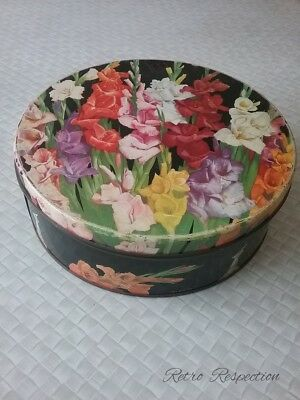 VINTAGE Huntley & Palmers Biscuits Tin - Gladioli Design