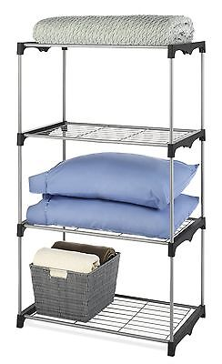 Whitmor 6779-4414 Closet Organizer Collection 4 Tier Shelves Grey