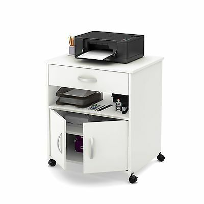 South Shore Furniture Axess Printer Cart on Wheels Pure White