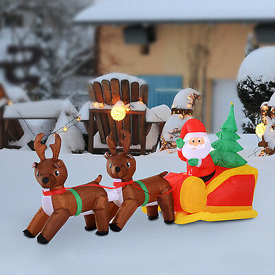 Large Inflatable Santa Claus Sleigh W/Reindeer Lighted Christmas Decoration
