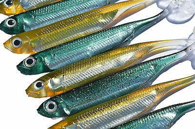 20 100mm Flash Minnow Soft Plastic Fishing Lures Holographic Bass Lures barra