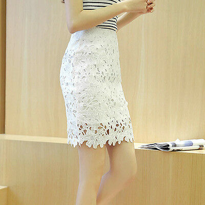 Women Lace Flower Elastic Waist Skinny Pencil Skirt A-Line Hollow Out Mini Dress