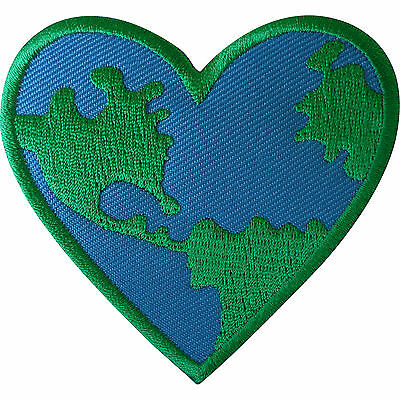 World Love Heart Patch Iron Sew On Clothes GreenPeace Earth Embroidered Badge