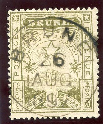 Brunei 1895 QV $1 yellow-olive very fine used. SG 10.