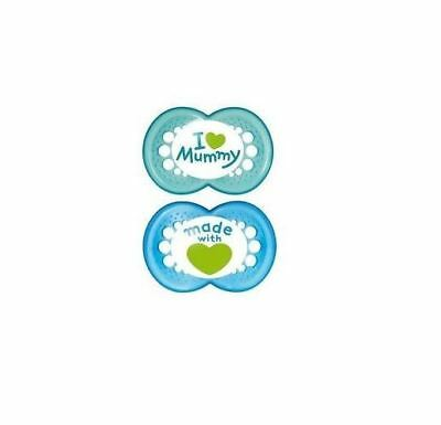 MAM Style Soother 6+ Months (Blue I love mummy/ Blue made with love)