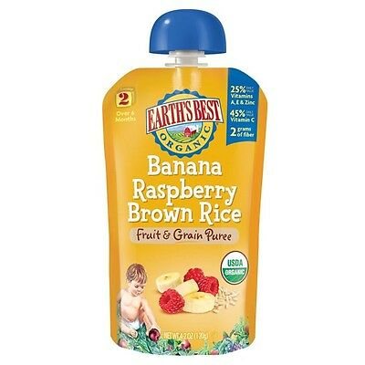 Earth's Best Banana Raspberry Brown Rice Fruit and Grain Puree 4.2 oz 12 Pack