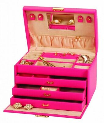 Mele Taylor Hot Pink Faux Leather Jewellery Box With Beige Interior And Lockable
