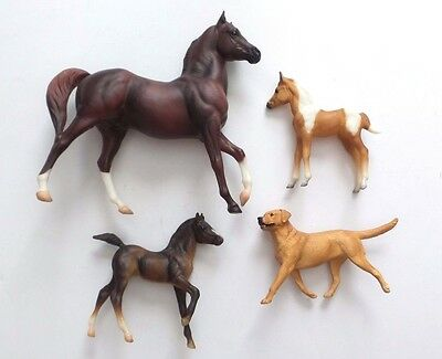 Breyer Model Horse Figurine Lot of 3 Horses + 1 Dog - Usually ships in 12 hrs!!!