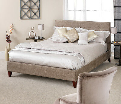 Detailed Fabric Bed Frame in 3 Colours CHARCOAL, CREAM, or FUDGE