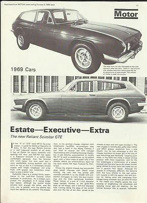 Reliant Scimitar Gte Appraisal  'sales 'brochure' 'motor' October 1968 For 1969