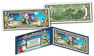 SANTA CLAUS - MERRY CHRISTMAS XMAS Holiday Legal Tender US $2 Bill w/Folio & COA