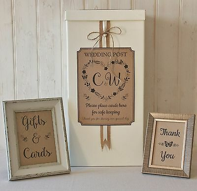 personalised WEDDING CARD POST BOX Hessian twine ROMANCE Gifts and Cards SIGNS
