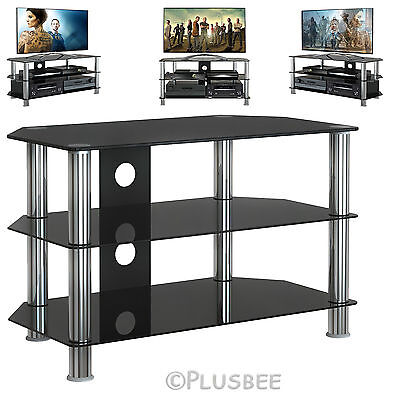 "Corner Black Glass TV Stand For Plasma LCD LED 23"" 30"" 32"" 37""39""40""42"" 50"" 60"""