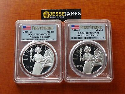 2016 W & S American Liberty Proof Silver Medal Pcgs Pr70 Dcam First Strike Green