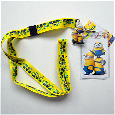 Despicable Me Minions Movie Group Lanyard Necklace ID Holder Keychain LICENSED