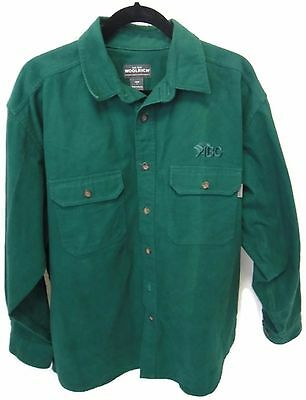 Woolrich Shirt Large Thick Green Button Down ABC Embroidered Long Sleeve L