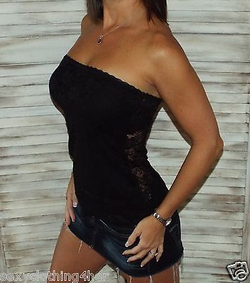 0e7a1b8020 Sexy Strapless Clubwear Party All Lace Bust Back Slimming Tube Top Black  S M