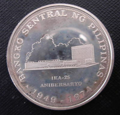 Philippines 1974 Silver 25 Piso PROOF 25th Anniversary of Bank