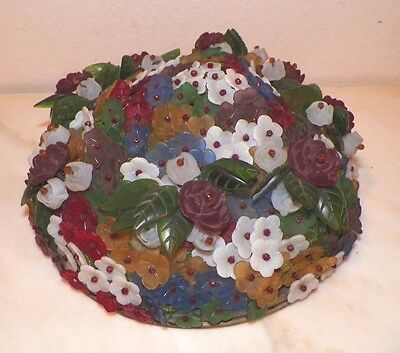 Vintage Antique Czech Floral Glass Beaded Light Cover Shade Red Roses