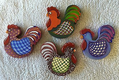 4 CHICKEN,Fridge Magnets,Colourful,Pink,Blue,Maroon,Green,6cm x 6cm x 9mm,Craft