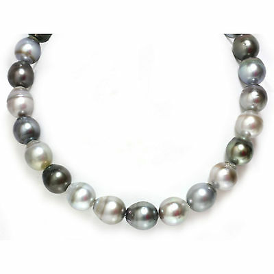 Tahitian Drop Pearl  Necklace Multi Color 14kt gold  15 - 14mm