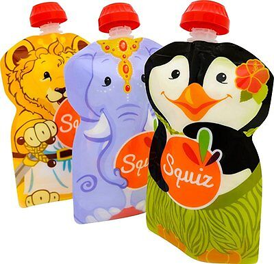 3 SQUIZ Reusable Refillable Food Pouches SWISS-MADE for Babyfood / Yogurts - no