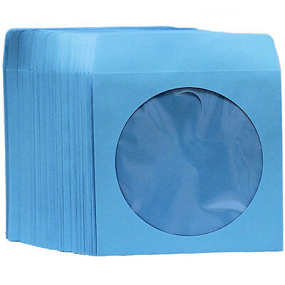 100 Premium Blue Color Paper Sleeve Window Flap CD DVD 100P [FREE FAST SHIPPING]