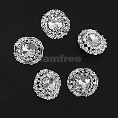 5pcs Crystal Silver Shank Round Buttons Sewing Embellishment DIY Crafts 23mm