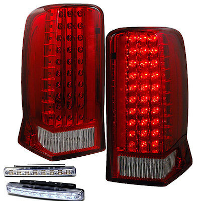 2002-2006 Cadillac Escalade Rear Brake Tail Lights Red/Clear+Led Bumper Running