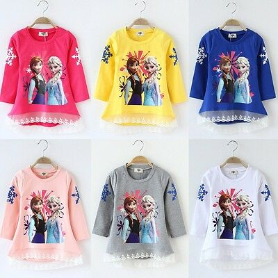 Kids Girls Frozen Elsa Anna Sister Lace Tops Sweatshirt Hoodie Pullover Outwear