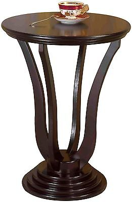 Frenchi Home Furnishing H-140 Round End Table Espresso Brown