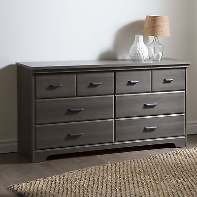 South Shore Furniture Versa 6-Drawer Double Dresser Gray Maple