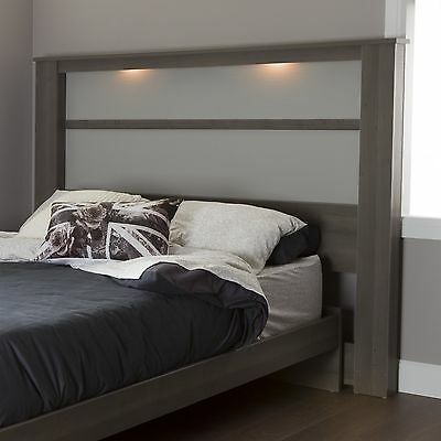 South Shore Furniture 78-Inch Gloria Headboard with Lights King Gray Maple
