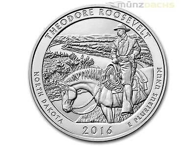 America the Beautiful ATB Roosevelt National North Dakota 5 oz Silber USA 2016